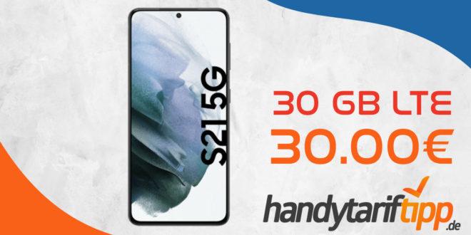 Samsung Galaxy S21 5G mit 30 GB LTE nur 30€ monatlich