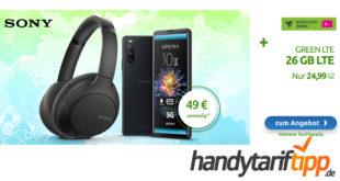 Sony Xperia 10 III & Noise Cancelling Kopfhörer von Sony mit 26 GB LTE nur 24,99€ monatlich