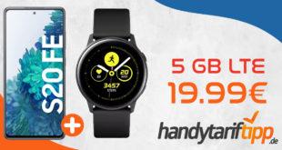Tagesdeal! Samsung Galaxy S20 FE & SAMSUNG Galaxy Watch Active mit 5 GB LTE nur 19,99€ monatlich - nur 29 Euro einmalige Zuzahlung