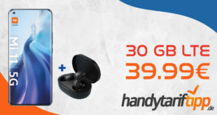 Xiaomi Mi 11 5G 256 GB & Mi True Wireless Earbuds Basic 2 mit 30 GB LTE für 39,99€ monatlich