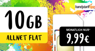 10 GB LTE Allnet Flat für nur 9,99 EURMonat - auch ohne Vertragslaufzeit bestellbar