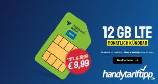 12 GB LTE bis 50 Mbits & Allnet & SMS-Flat in alle dt. Netze monatlich kündbar nur 9,99€ monatlich