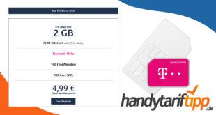 2 GB LTE (25 Mbits) & 100 Frei-Minuten & 100 Frei-SMS im Telekom Netz nur 4,99€ monatlich - Kein Anschlusspreis
