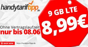 9 GB LTE & Allnet Flatrate - ohne Vertragslaufzeit - nur 8,99€ monatlich