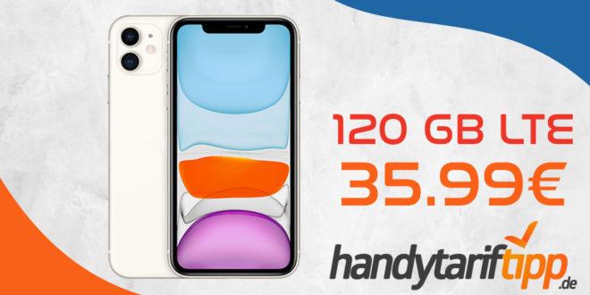 Apple iPhone 11 mit 120 GB LTE5G nur 35,99€ monatlich