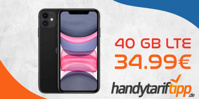 Apple iPhone 11 mit 40 GB LTE für 34,99€ monatlich