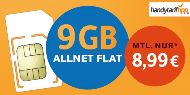 Ohne Vertragslaufzeit - Allnet-Flat 9 GB LTE nur 8,99€ monatlich