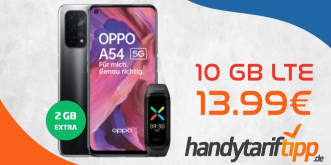 Oppo A54 5G & Fitnessband (Oppo Band Sport) mit 10 GB LTE nur 13,99€ monatlich - 1 Euro Zuzahlung und kein Anschlusspreis