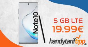 Samsung Galaxy Note10 256GB mit 5 GB LTE nur 19,99€ monatlich - nur 1 Euro Zuzahlung