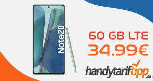 Samsung Galaxy Note20 256GB Version mit 60 GB LTE nur 34,99€ monatlich