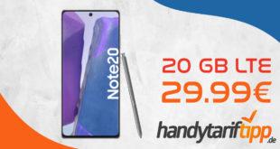 Samsung Galaxy Note20 mit 20 GB LTE nur 29,99€ monatlich - nur 1 Euro Zuzahlung