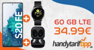 Samsung Galaxy S20 FE 256GB Version & Samsung Galaxy Watch Active & Samsung Galaxy Buds Live mit 60 GB LTE Max. nur 34,99€ monatlich