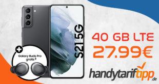 Samsung Galaxy S21 5G & Galaxy Buds Pro mit 40 GB LTE nur 27,99€ monatlich - einmalige Zuzahlung nur 99 Euro