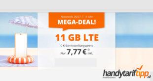11 GB LTE & 60 Freiminuten nur 7,77€ monatlich - auch ohne Vertragslaufzeit bestellbar
