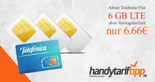 6 GB LTE und Allnet Telefonie Flat & ohne Vertragslaufzeit nur 6,66 Euro monatlich