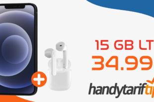Apple iPhone 12 & SkyPods Lite Wireless Headphones mit 15 GB LTE nur 34,99€ monatlich - einmalige Zuzahlung nur 49,95 Euro