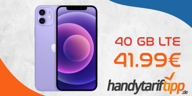 Apple iPhone 12 mit 40 GB LTE 5G nur 41,99€ monatlich - nur 1 Euro Zuzahlung