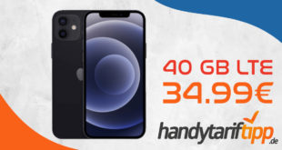 Apple iPhone 12 mit 40 GB LTE nur 34,99€ monatlich - nur 29 Euro Zuzahlung