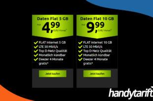 Datentarife im Vodafone Netz - 5 GB LTE nur 4,99€ und 10 GB LTE nur 9,99€ monatlich - Monatlich kündbar
