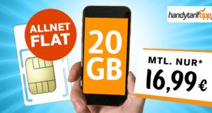 Ohne Vertragslaufzeit - Allnet-Flat 20 GB LTE nur 16.99€ monatlich