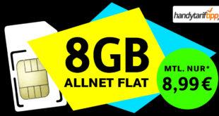 Ohne Vertragslaufzeit - Allnet-Flat 8 GB LTE nur 8,99€ monatlich