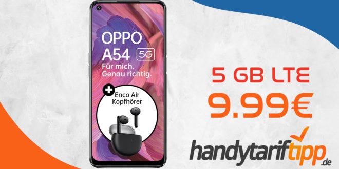 Oppo A54 5G & Oppo Enco Air Kopfhörer mit 5 GB LTE nur 9,99€ monatlich - nur 49,99 Euro Zuzahlung