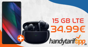 Oppo Find X3 Neo (256 GB) für 4,95€ Zuzahlung & Oppo Enco X mit 15 GB LTE mit bis zu 500 Mbits für 34,99€ monatlich - Tarif effektiv kostenlos