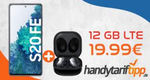 Samsung Galaxy S20 FE & Samsung Galaxy Buds Live mit 12 GB LTE nur 19,99€ monatlich - nur 1 Euro Zuzahlung