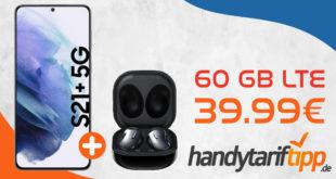Samsung Galaxy S21+ 5G (S21Plus) & Samsung Galaxy Buds Live mit 60 GB LTE nur 39,99€ monatlich - nur 1 Euro Zuzahlung