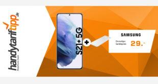 Samsung Galaxy S21+ 5G (S21Plus) & Samsung Trio Charger mit 20 GB LTE im Vodafone Netz nur 36,99€ monatlich - nur 29 Euro Zuzahlung
