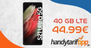 Samsung Galaxy S21 Ultra 5G mit 40 GB LTE im Vodafone Netz nur 44,99€ monatlich - nur 49 Euro Zuzahlung