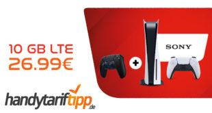 Sony PlayStation 5 - Disc Edition & Sony DualSense Wireless-Controller mit 10 GB LTE nur 26,99€ monatlich - einmalige Zuzahlung 219 Euro