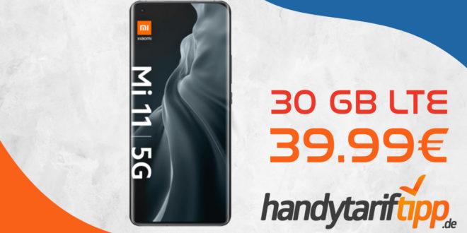 Xiaomi Mi 11 5G mit 30 GB LTE nur 39,99€ und mit 60 GB LTE nur 44,99€ monatlich - nur 1 Euro Zuzahlung