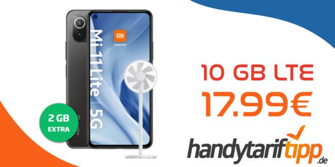 Xiaomi Mi 11 Lite 5G & Mi Smart Fan 2 lite mit 10 GB LTE nur 17,99€ monatlich - nur 1 Euro Zuzahlung und kein Anschlusspreis