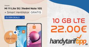 Xiaomi Mi 11 lite 5G & Mi Smart Standing Fan 2 Lite mit 10 GB LTE im Telekom Netz nur 22€ monatlich