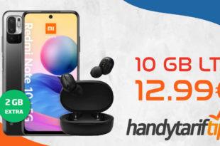 Xiaomi Redmi Note 10 5G & Xiaomi Mi TW Earbuds 2 Basic mit 10 GB LTE nur 12,99€ monatlich - nur 13 Euro Zuzahlung und kein Anschlusspreis