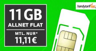 11 GB LTE Allnet Flat für nur 11,11€ monatlich - auch ohne Vertragslaufzeit