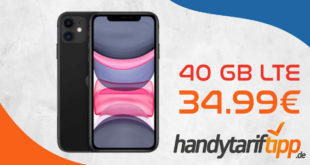Apple iPhone 11 mit 40 GB LTE5G nur 34,99€ monatlich - nur 1 Euro Zuzahlung