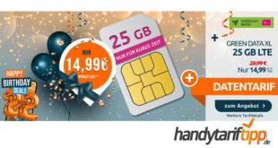 Datentarif im Netz der Telekom – 25 GB LTE Internet-Flatrate mit bis zu 300 Mbit/s nur 14,99€ monatlich