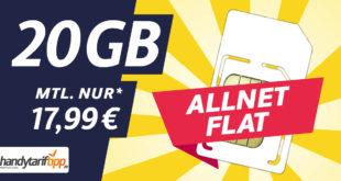 Ohne Vertragslaufzeit - Allnet-Flat 20 GB LTE nur 17,99€ monatlich
