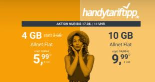 Ohne Vertragslaufzeit Knaller - 4 GB LTE nur 5,99€ monatlich und 10 GB LTE nur 9,99€ monatlich