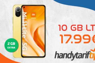 Xiaomi Mi 11 Lite 5G mit 10 GB LTE nur 17,99€ monatlich - nur 1 Euro Zuzahlung und kein Anschlusspreis