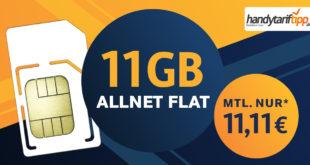 11 GB LTE & Allnet Flat für nur 11,11€ monatlich – auch ohne Vertragslaufzeit bestellbar