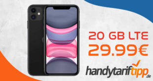 Apple iPhone 11 mit 20 GB LTE nur 29,99€ monatlich - nur 1 Euro Zuzahlung & 100€ Wechselbonus
