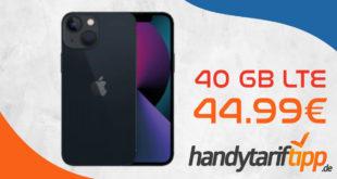 Apple iPhone 13 128 GB mit 40 GB LTE5G nur 44,99€ monatlich - einmalige Zuzahlung 179,95 Euro