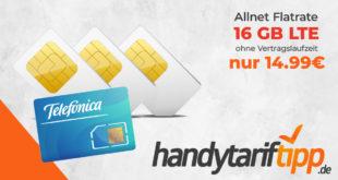 Ohne Vertragslaufzeit - 16 GB LTE & Allnet Flat nur 14,99€ monatlich
