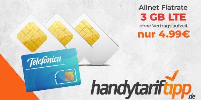 Ohne Vertragslaufzeit - 3 GB LTE & Allnet Flat nur 4,99€ monatlich