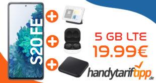 Samsung Galaxy S20 FE & Google Nest Hub & Samsung Galaxy Buds2 & Samsung Wireless Charger Pad mit 5 GB LTE nur 19,99€ monatlich - nur 29 Euro einmalig