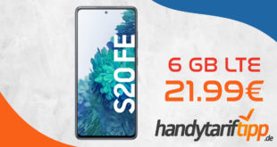 Samsung Galaxy S20 FE mit 6 GB LTE im Telekom Netz nur 21,99€ monatlich - nur 1 Euro Zuzahlung