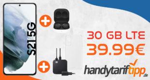 Samsung Galaxy S21 5G & Samsung Galaxy Buds2 & Samsung Starter Kit für Galaxy S21 mit 30 GB LTE nur 39,99€ monatlich - nur 49 Euro Zuzahlung